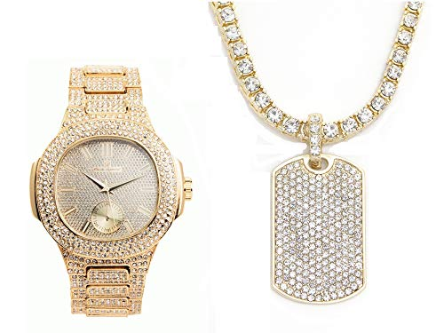 Bling-ed Out Oblong Case Metal Mens Watch with Bling-ed Out Tennis Necklace and Iced Out Dog Tag Pendent - 8475GN Dog Tag Gold from Charles Raymond