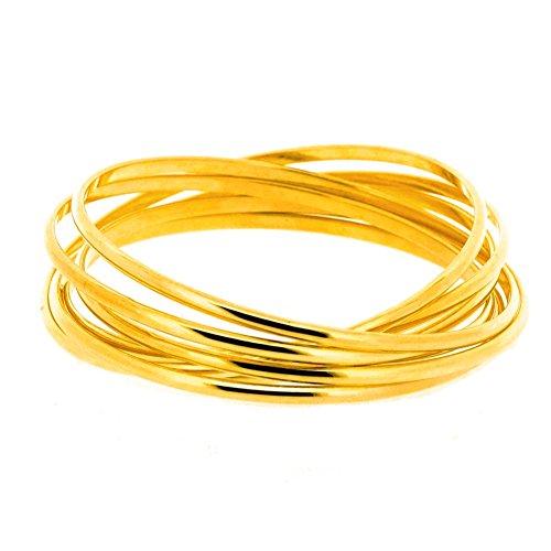 Gold Interlocking - Edforce Stainless Steel Women's Gold Interlocking Bangle Bracelet Stackable Intertwined Interlaced, 68mm (2.67in)