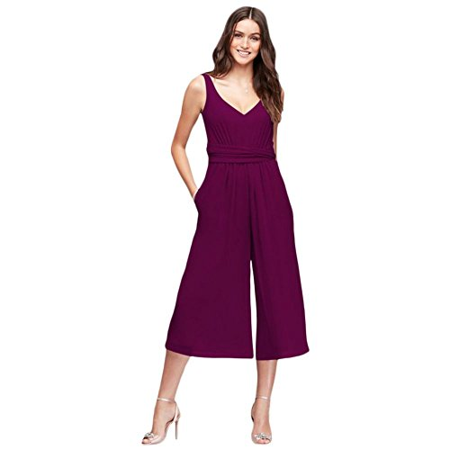 (David's Bridal Bridesmaid Dress Tie-Back Crinkle Chiffon Bridesmaid Jumpsuit Style F19741, Sangria,)