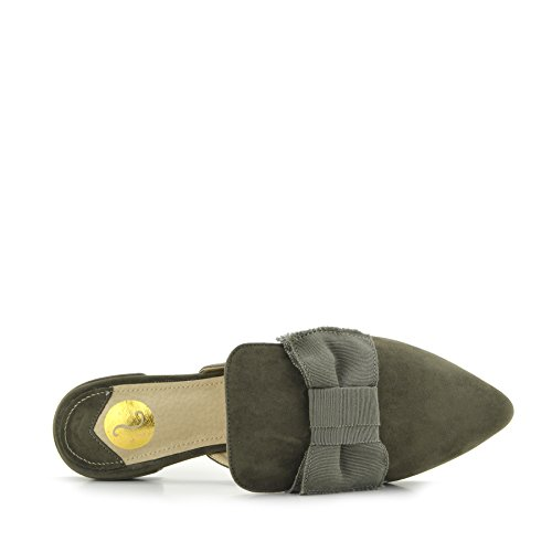 Scarpe Slipper Giallo Kick Pantofole Piatta Muli Velluto Khaki Punto Casual Punta Footwear Donna di a qwr04WxY0n