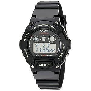 Casio Unisex W-214HC-1AVCF Classic Digital Display Quartz Black Watch