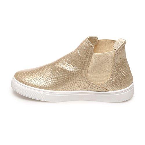 La Modeuse - Zapatillas de deporte para mujer dorado