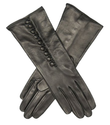 Fratelli Orsini Women's Italian Silk Lined Gloves with Buttons Size 8 1/2 Color Black by Fratelli Orsini