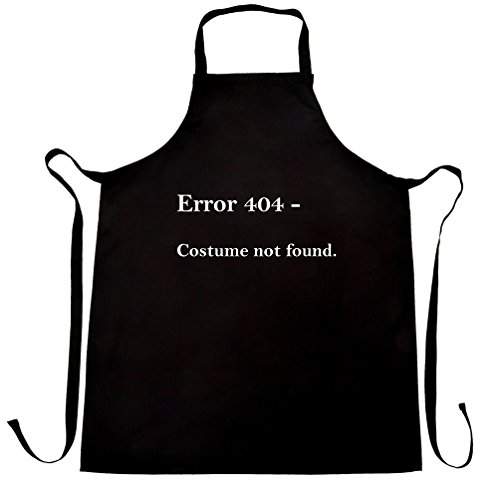 Nerdy Halloween Chefs Apron Error 404, Costume Not Found Black One Size ()