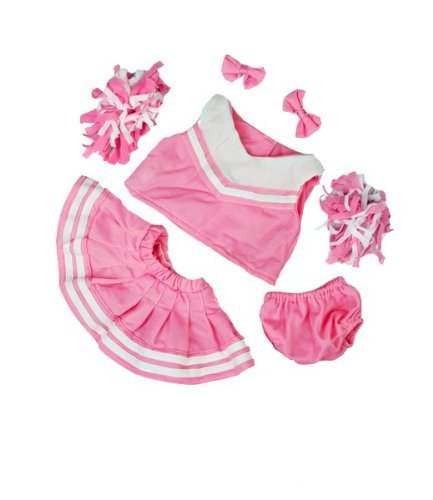 Pink and White Cheerleader Teddy Bear Clothes Outfit Fits Most 14
