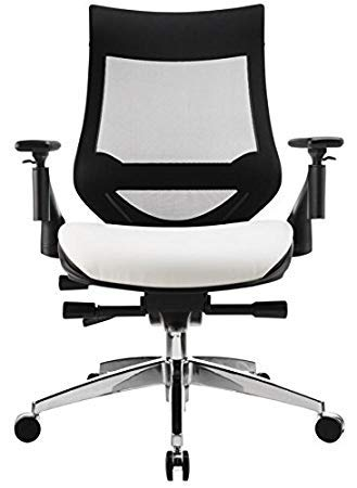 WorkPro 1500 Series Bonded Leather Mid-Back Multifunction Chair, Black/White