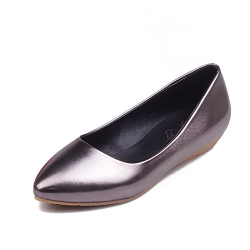 Toe Urethane Pull Silver Cut On Uppers BalaMasa Ladies Flats Pointed Low Shoes Ewc1qC