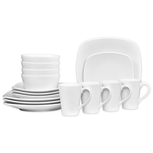Noritake White on White Porcelain Square Swirl 16-Piece Dinnerware Set