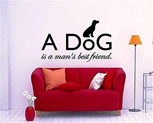 Funny-mural Vinyl Wall Sticker Decal Quote Home Decor A Dog is a Man's Best Friend Animal Friendship Excellent for Room