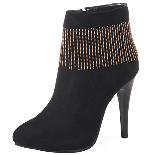 AIYOUMEI Women Nubuck Stiletto Heel Anklw Boots With Tassels Party High Heels Shoes Pointed Toe Boots Black CSTqH45dcT