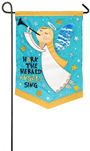 Evergreen Hark The Herald Angels Sing Applique Garden Flag, 12.5 x 18 inches