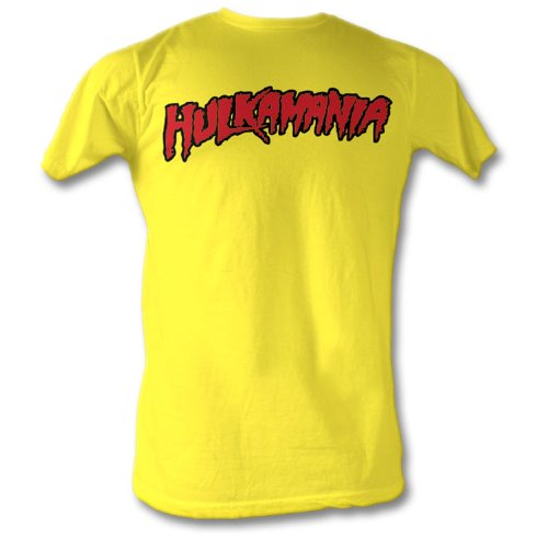 Hulk hogan hulkamania yellow adult size medium t shirt for Adult medium t shirt