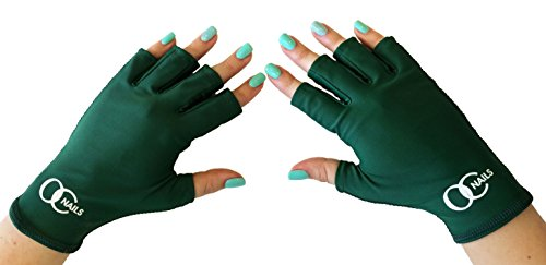 OC Nails UV Shield Glove (EMERALD GREEN) Anti UV Glove for Gel Manicures with UV/LED Lamps