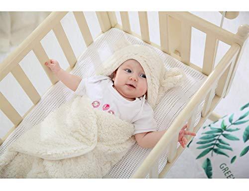 XMWEALTHY Cute Newborn Baby Boys Girls Blankets Plush Swaddle Blankets White