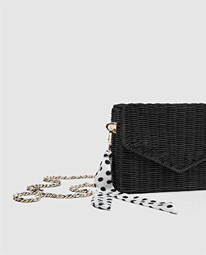 À Beach Sacs Crossbody Main Sac Main Sac ANUAN Summer Bag Femmes Black À Et Bandoulière À Weave Straw 1wzqnP6