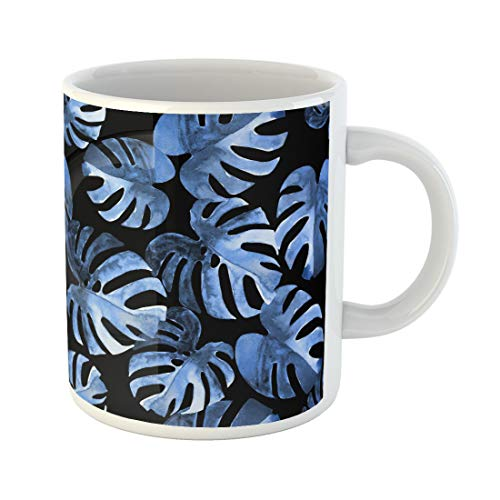 Cobalt Platinum Mug - Semtomn Funny Coffee Mug Blue Floral Pattern Watercolour Exotic Monstera Leaves Cobalt Jungle 11 Oz Ceramic Coffee Mugs Tea Cup Best Gift Or Souvenir