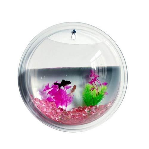 New Fashion Plants Wall Mounted Hanging Bubble Acrylic Bowl Fish Tank Aquarium Home Decoration(22.5X12cm)   White, S