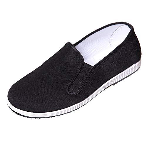 Holyangtech Kung Fu Shoes Martial Arts Shoes Men/Women Chinese Traditional Old Beijing Shoes Kung Fu Tai Chi Rubber Sole Shoes Black(44EU)