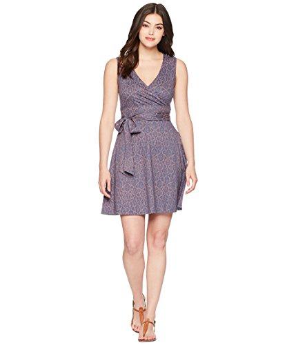 Toad&Co Women's Cue Wrap Shortsleeve Dress, Blueberry Batik Dot Print, XL ()