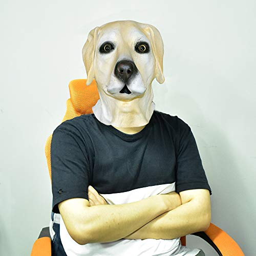 Labrador Retriever Dog Latex Animal Dog Head Mask, Dog Mask Adult Deluxe Halloween Costume Party Fancy Dress Up]()