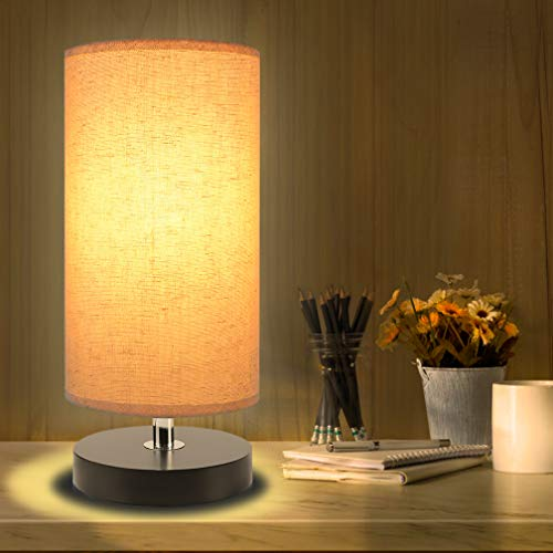 Bedside Table Lamp, Aooshine Minimalist Solid Wood Table Lamp Bedside Desk Lamp, Round Simple Desk Lamp, Nightstand Lamp with Fabric Shade ()