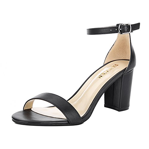 Eunicer Women's Single Band Classic Chunky Block High Heel Sandals with Ankle Strap Dress Shoes (Black)