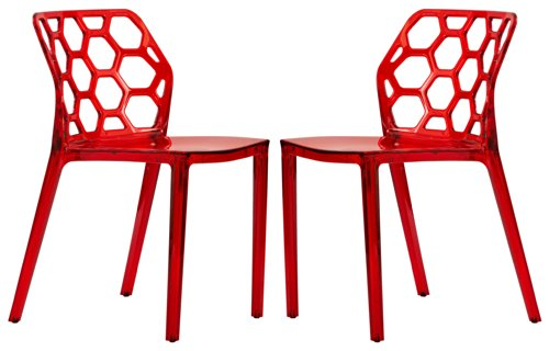 LeisureMod Dynamic Modern Dining Chair, Transparent Red, Set of 2 (Funky Dining Tables And Chairs)
