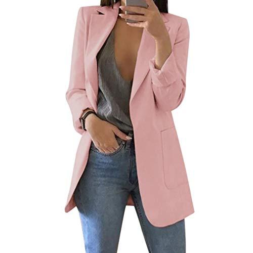 Mujer Manga Larga Blazer, Moda Color Sólido Slim Traje Chaqueta con Bolsillos Mujeres Casual OL Oficina Negocio Trabajo Abrigo Tallas Grandes Outwear ...