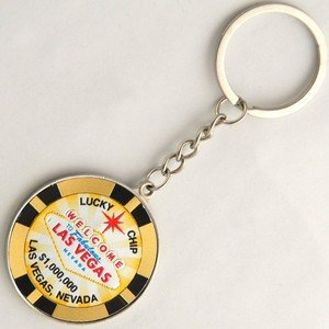 NS Las Vegas Key Chain $1 Million Dollar Gold Metal Poker Chip