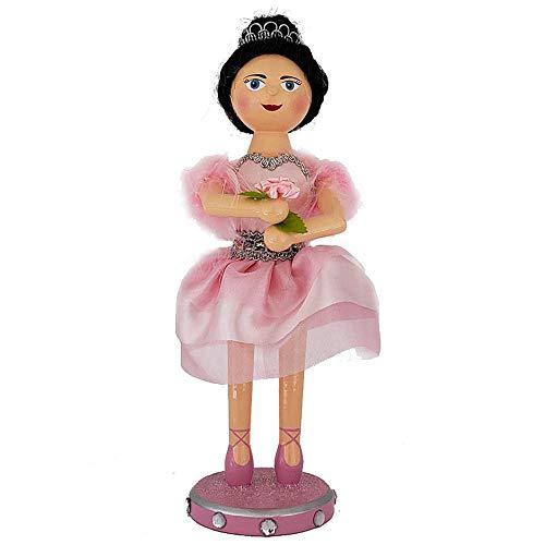 Nutcracker Ballet Ballerina Pretty Pink Dress Feather Details Wood 10 Inch