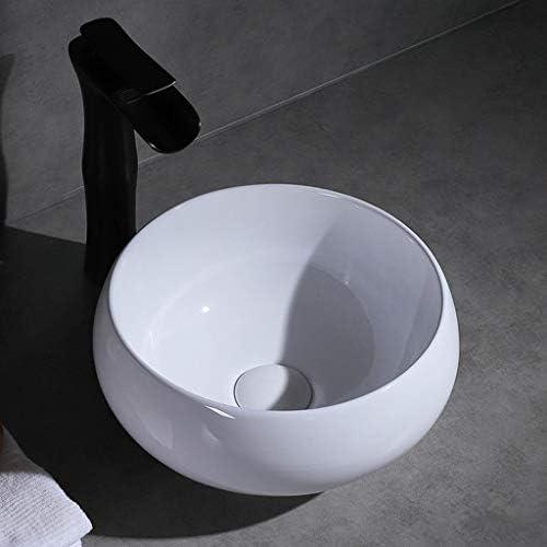 DS- バスルームの洗面台、ラウンドセラミック(タップ無し)カウンタ上流域浴室シンク技術の単一流域、利用可能な3つのサイズ 洗面ボール && (Size : 33X33X15.5cm)