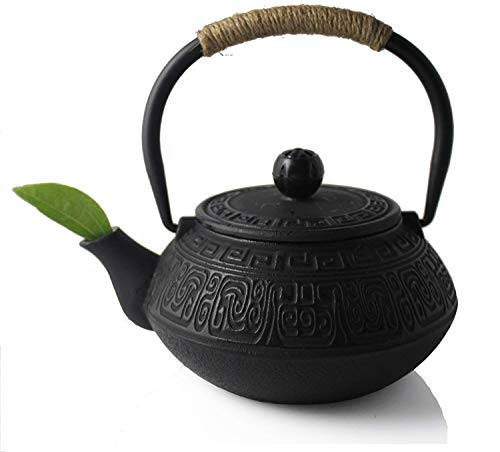 Hwagui Best Japanese Cast Iron Teapot and Tea Kettle with Stainless Steel Infuser for Stove Top 600ml/20oz (Antique Stove Iron Cast)