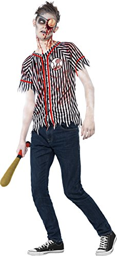 [Smiffy's Teen Boys' Zombie Baseball Player Costume, Top, Eyepatch and Wadded Baseball Bat, Halloween, Size XS, Ages 14+,] (Baseball Bat Man Costume)