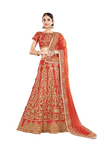 Threads of india Lehenga for partywear choli bollywood lehenga choli Gorgeous Raw Silk Orange Lehenga Choli with Dupatta