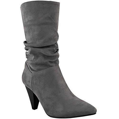 Fashion Thirsty Mujer Sin Cierres Tacón Bajo Pantorrilla Botines fruncido Cowboy Oeste Zapatos Gris Cuero De Ante