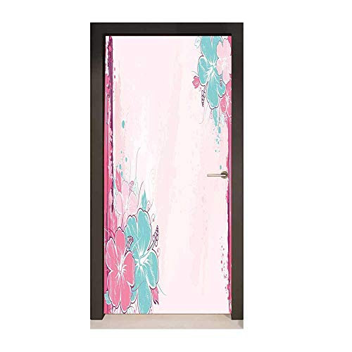 Flower Door Wallpaper Bouquet of Hibiscus Florets Watercolor Elegance Beauty Artwork Creative Self-Adhesive Decoration Light Pink Fuchsia Turquoise,W17.1xH78.7