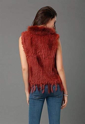 Blouson Warm Art Manteau Femme Sleeveless Festives Houppe Hiver Taille Gilet Grande Clothing Elégante De Automne Outerwear Fourrure Vest Crimson xpq7RwaFA