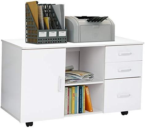 Greensen - Mueble archivador de madera con 3 cajones, 1 puerta abierta, estante de almacenamiento para la oficina y el hogar, 90 x 40 x 51 cm, Blanco, 90 × 40 × 51 cm: Amazon.es: Hogar