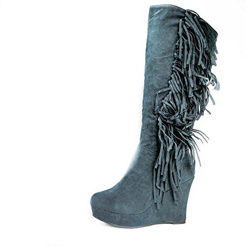 Damen Stiefel Keilabsatz Fransen Wedge Boots Stiefeletten JA22 Darkgreen