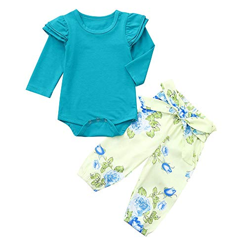 Kehen Newborn Infant Baby Spring Clothes Toddler Girl Cotton Outfits Ruffle Long Sleeve Tops with Flower Pants