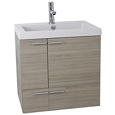 "ACF ANS339 New Space Bathroom Vanity with Fitted Ceramic Sink Wall Mounted, 23"", Larch Canapa - Wall mounted vanity cabinet (2 doors, 1 drawer) High-end self Rimming ceramic sink Modern style vanity in Larch Canapa finish - bathroom-vanities, bathroom-fixtures-hardware, bathroom - 414k3ybZWKL. SS400  -"