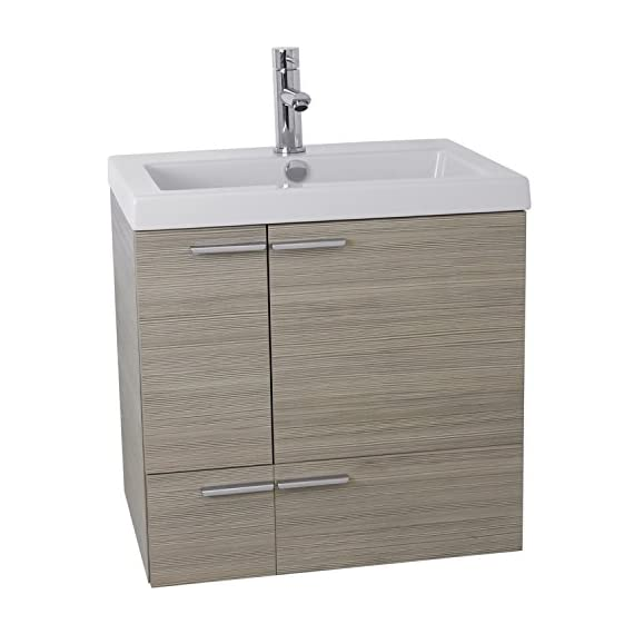 """ACF ANS339 New Space Bathroom Vanity with Fitted Ceramic Sink Wall Mounted, 23"""", Larch Canapa - Wall mounted vanity cabinet (2 doors, 1 drawer) High-end self Rimming ceramic sink Modern style vanity in Larch Canapa finish - bathroom-vanities, bathroom-fixtures-hardware, bathroom - 414k3ybZWKL. SS570  -"""