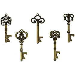 Key Bottle Openers - Assorted Vintage Skeleton Keys, Wedding Party Favors (Pack of 25, Bronze)