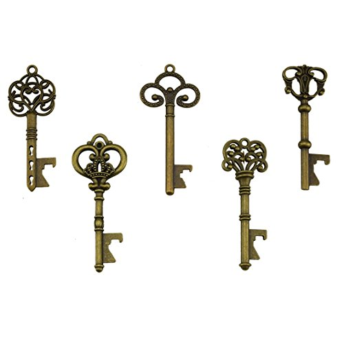 Key Bottle Openers - Assorted Vintage Skeleton Keys, Wedding Party Favors (Pack of 25, Bronze)]()