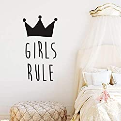 Girls Bedroom Wall Decal Crown Design Quotes Girl Rule Wall Decal for Kids Children Bedroom Art Removable Playroom Mural SYY825 (Black-girl rule)