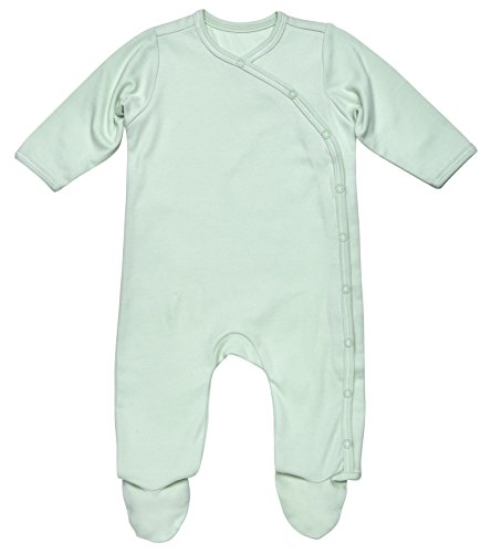 Under the Nile Unisex Baby Side-Snap Footie Size 0-3M Solid Green Organic Cotton
