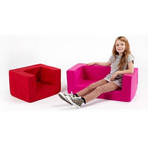 Ready Steady Bed Children's Comfy Foam Armchair in Black. Soft, Colourful, Comfortable & Lightweight a Removeable Cover