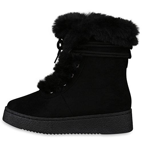 Stiefelparadies Damen Stiefeletten Warm Gefütterte Stiefel Leder-Optik Winter Boots Nieten Zipper Schnallen Camouflage Schuhe Flandell Schwarz Carlet