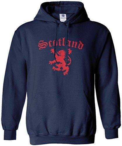 Threadrock Men's Lion of Scotland Hoodie Sweatshirt 2XL Navy (Mens Scotland Hoodie)