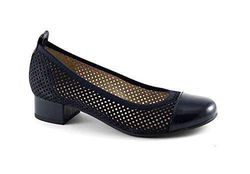 Pregunta Cuero PO21656 Zapatos de Color Azul Bailarín de La Mujer decolt Perforado Blu